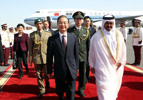 Premier Wen Jiabao Arrives In Doha For Official Visit To Qatar