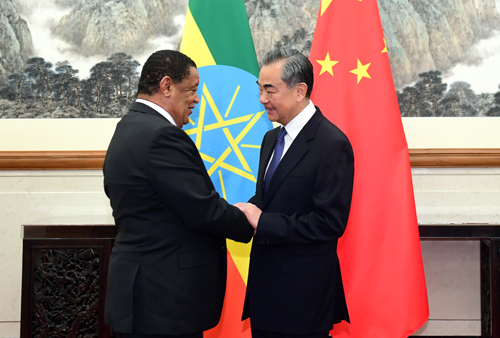 Wang Yi Meets With Mulatu Teshome Former President And Special Envoy Of Prime Minister Of Ethiopia Embassy Of The People S Republic Of China In The United States Of America